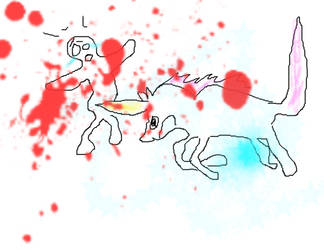 a Unicorn stabbing a man with its horn by FeelinFoxy