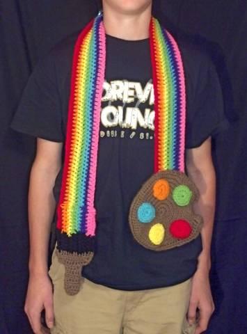 crochet paint palette scarf by PiNiKoLi