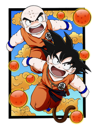 Goku and Krillin: Collab by carapau