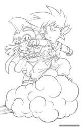 Goku x ChiChi lineart