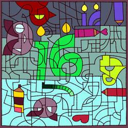 DA 16th birthday coloring celebration
