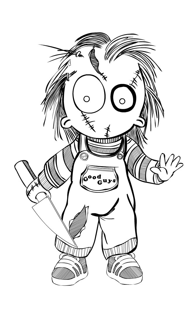 Chucky Clipart Black And White: Chucky Outlines MRDeZign By MRDeZign On DeviantArt