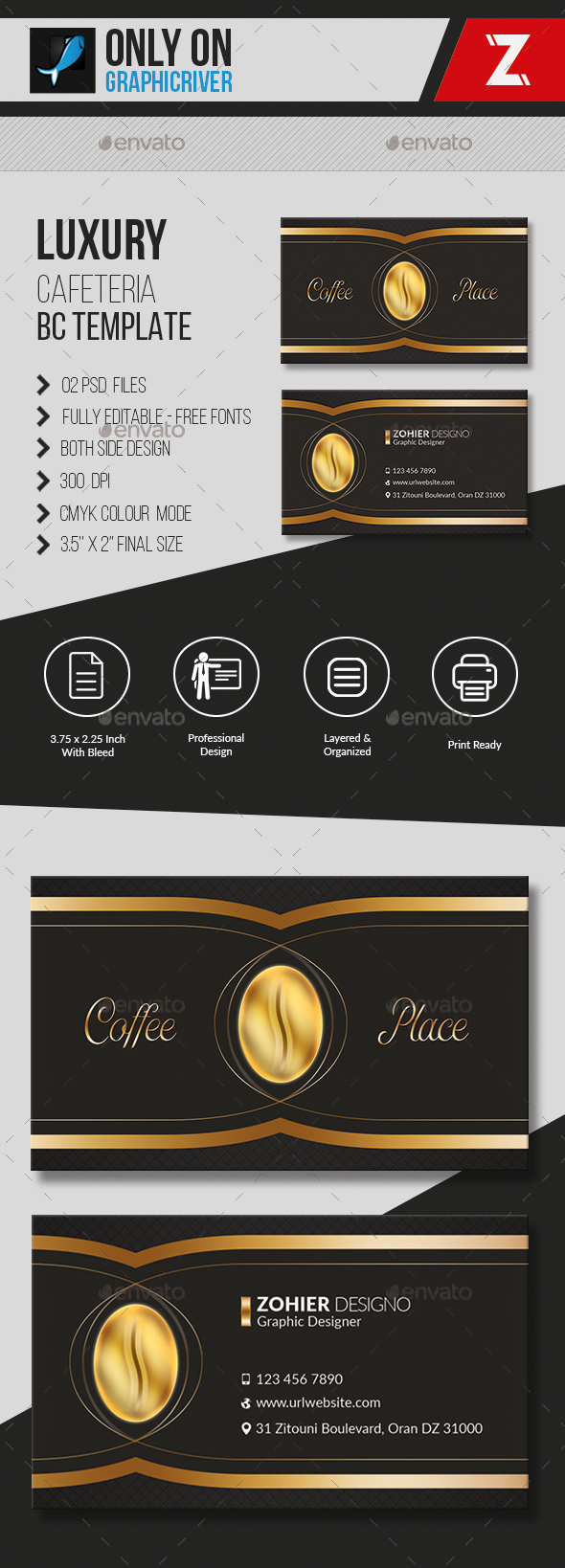 Luxury Cafeteria Business Card Template By Zohieralgerie On - 35 x2 business card template