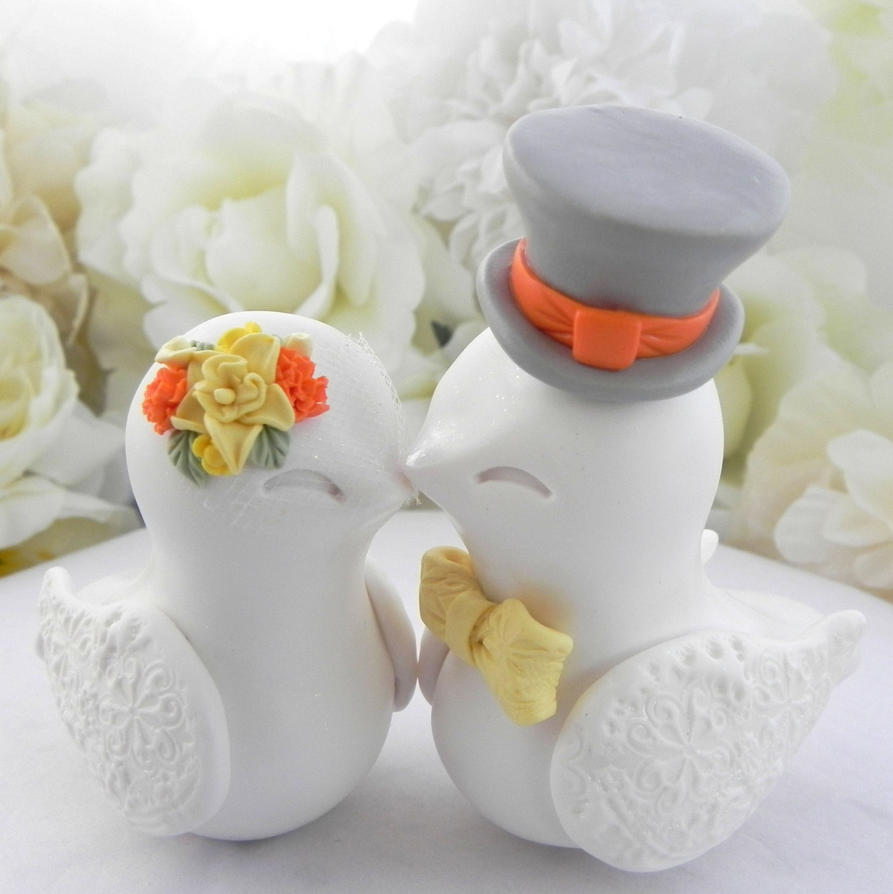love bird wedding cake topper white and yellow birds wedding cake topper by 5607