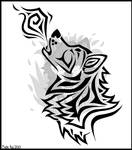 Tribal Wolf Tattoo Design by SekiiRei