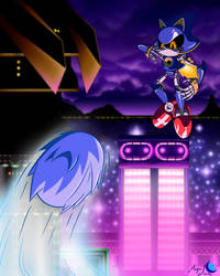 Sonic vs Metal Sonic, Stardust Speedway by MagniMoon