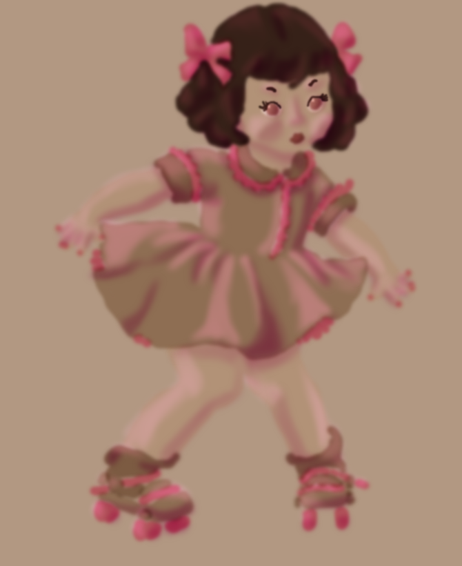 Coloring Book Recolored: Doll on Roller Skates by HSGisME123