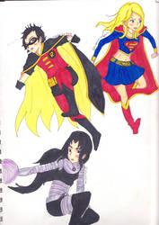 Robin III,Supergirl,Blackfire by AmaiUzuRin