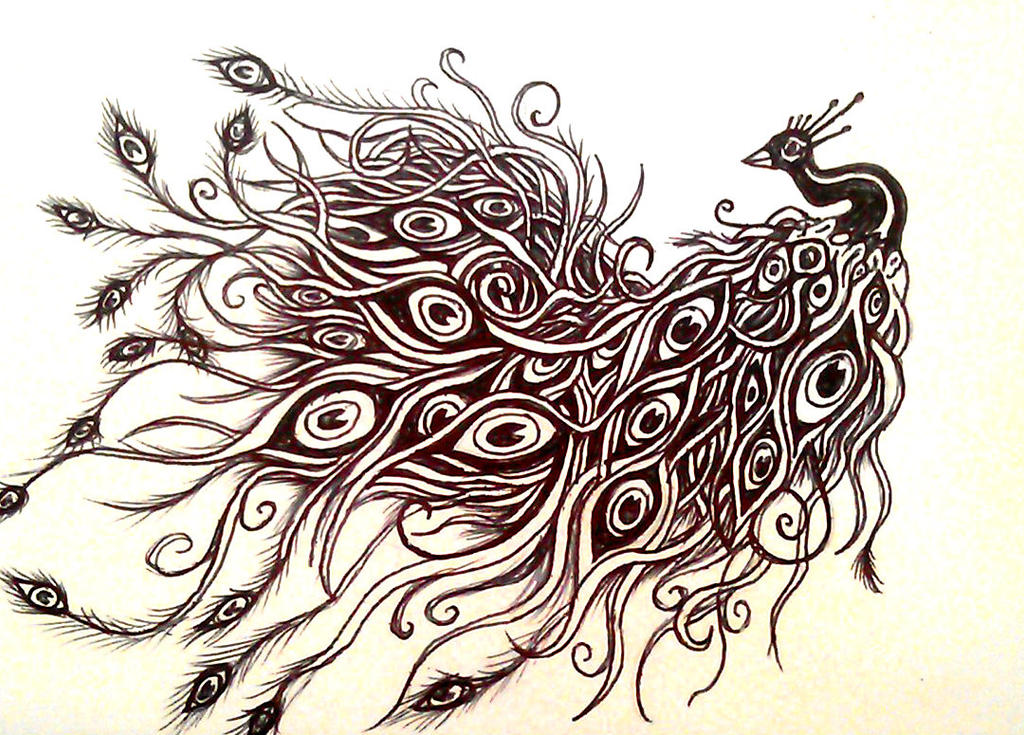 Peacock tattoo design by smonters on deviantart for Peacock tattoo black and white