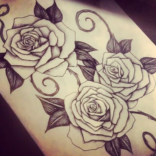 Rose tattoo design in progress by smonters on deviantart for 3 roses tattoo