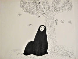 No-Face dreaming under a cherry blossom, Ink, 2017 by DesCroixEtDesTraits