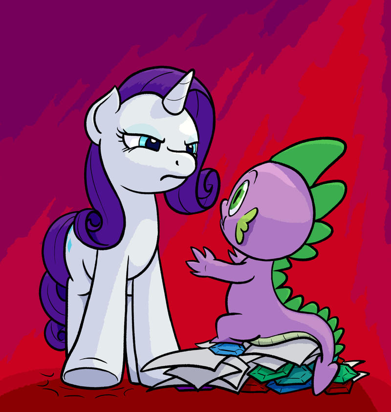Spike Faces Rarity by Dahtamnay