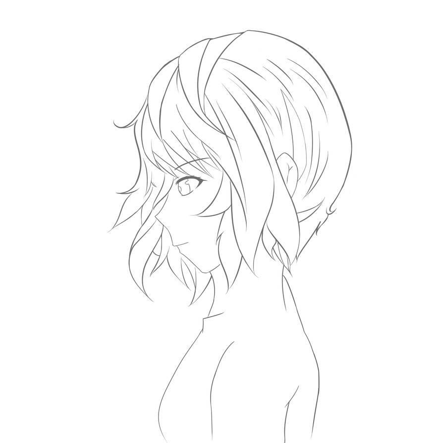 Line art anime girl side view by 0alphacentauri0