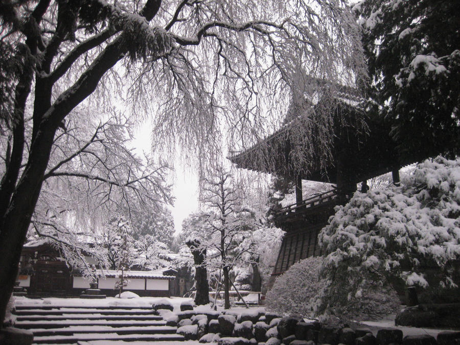 Winter at a nearby Temple by JeanneABeck