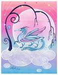 Pegasus? dragon under the tree of stars