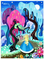 Alice in Wonderland - Alice with cheshire cat by snuapril01