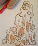 cat tower prop design sketch