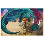 Dragon flying out from the bestiary book by snuapril01