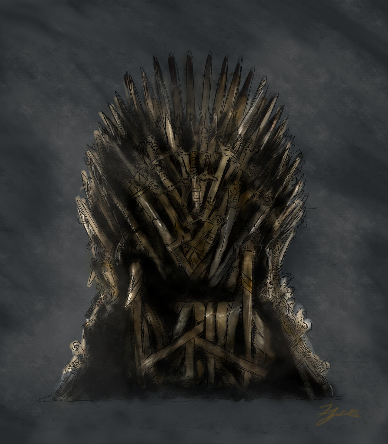 The iron throne by june malatesta on deviantart for Iron throne painting