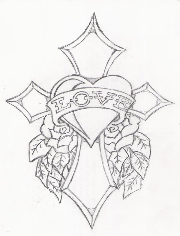 Cross of love ed hardy by icemaxx1 on deviantart for Hearts and crosses coloring pages