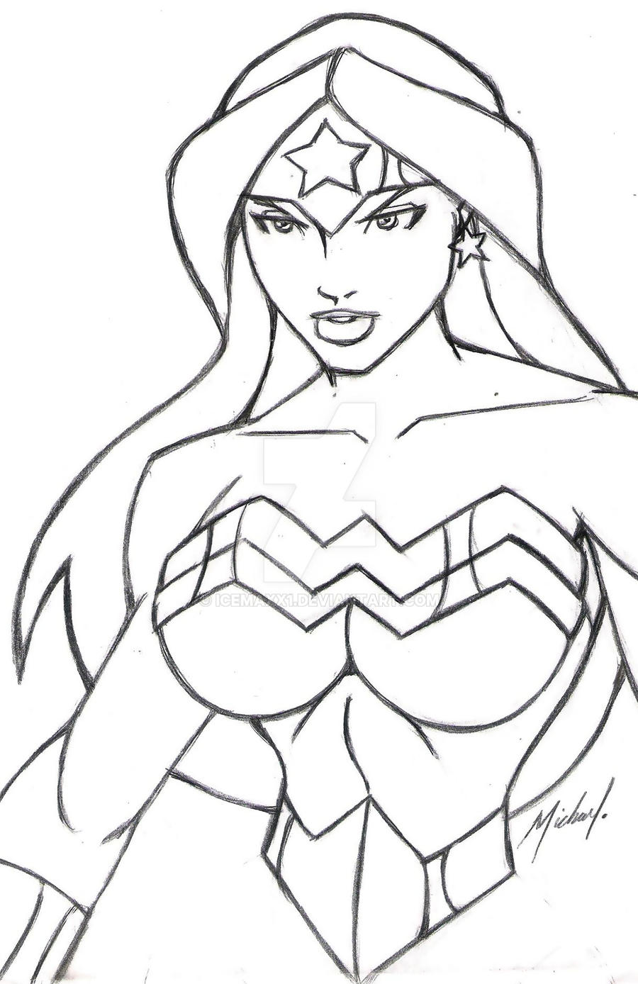 WONDER WOMAN LINE ART by icemaxx1