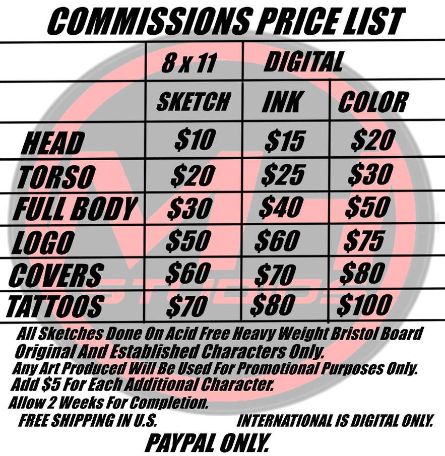 Commission Price List by icemaxx1