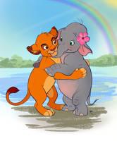 Commission: Elephant and Lion Hug by rain1940