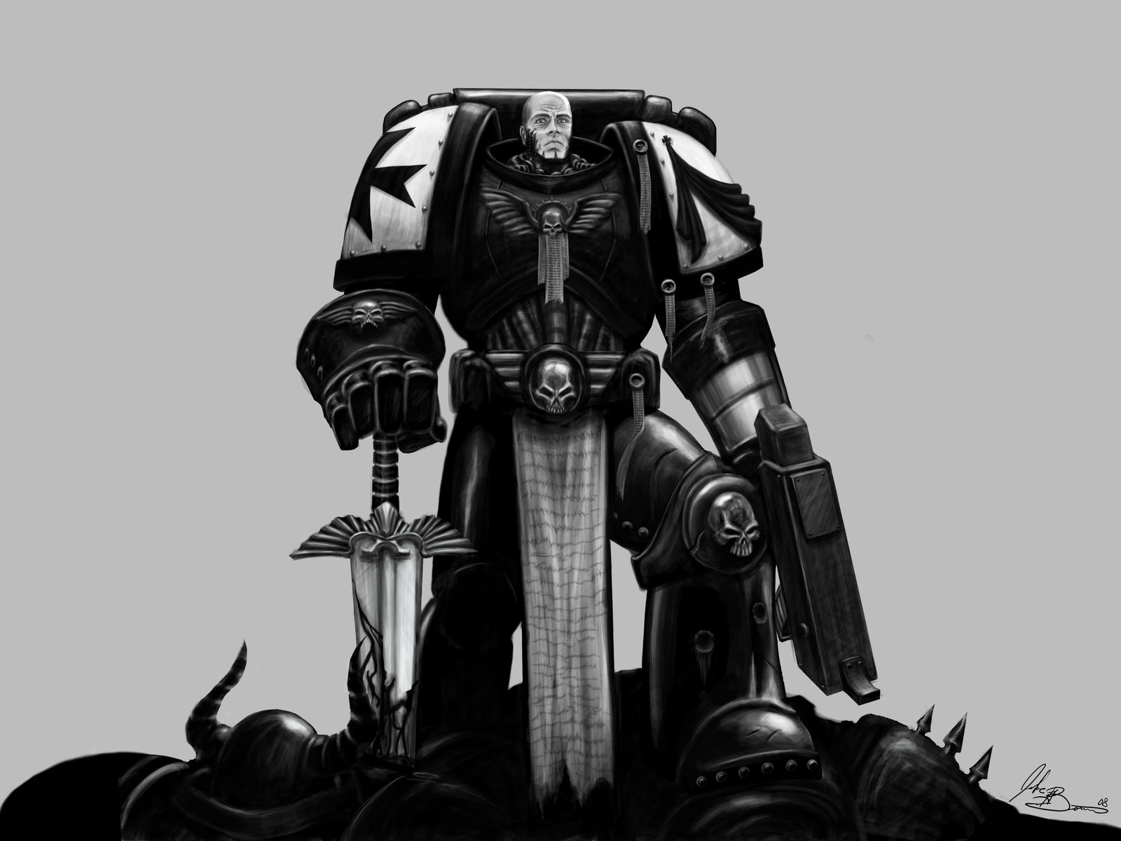 Black Templar Space Marine by AlphaWalrus
