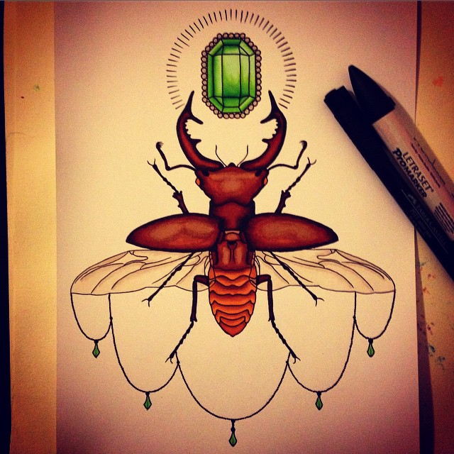 Stag Beetle and Emerald by MassKreationDesign