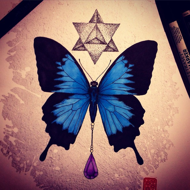 Papilio Ulysses and Amethyst by MassKreationDesign