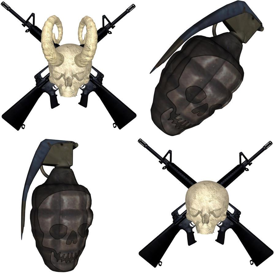 Skull And Guns Unfinished By Ifinch On Deviantart: Skulls -N- Guns -N- Grenades By JeffroDawg On DeviantArt