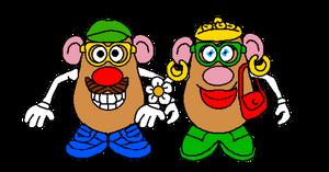 Mr potato head and Mrs potato head