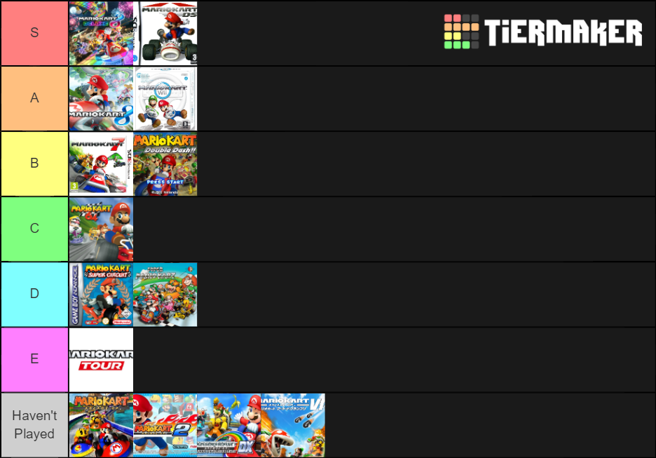 Tier List Mario Kart Games By Kirbymasterultra On Deviantart