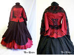 Red and Black crinoline Gown