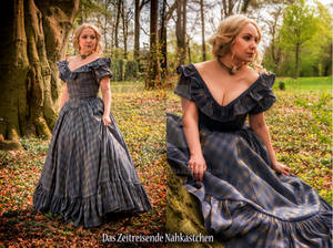 Blue and Gold Crinoline Gown - #2