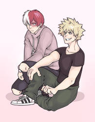 Todoroki and Bakugo by medikkuu