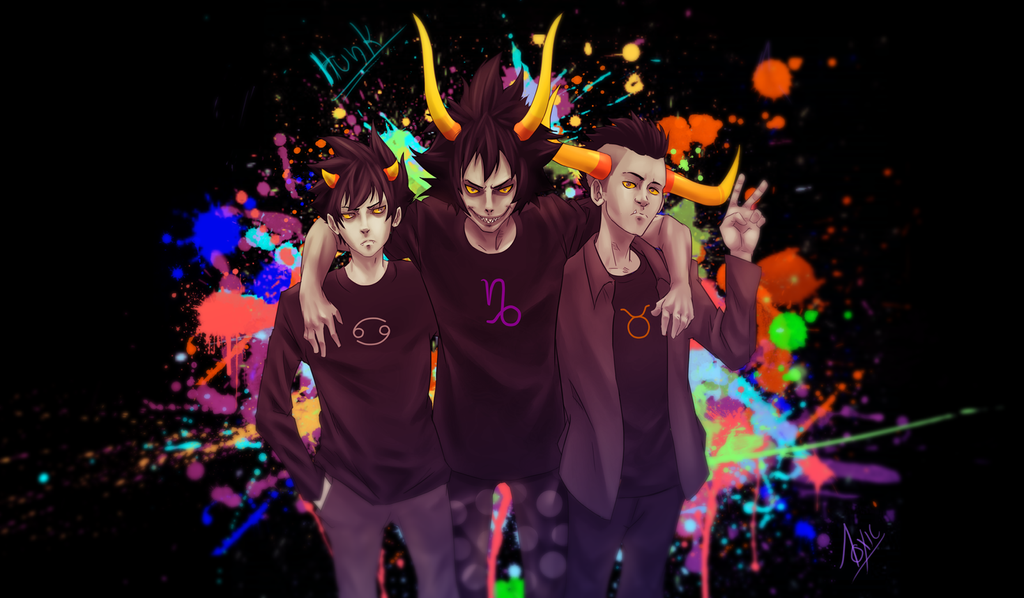homestuck karkat gamzee and tavros by proxyodeath on