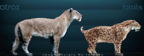 smilodon fatalis y leo atrox by serchio25