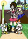 Pokemon Trainer Gloria and Team