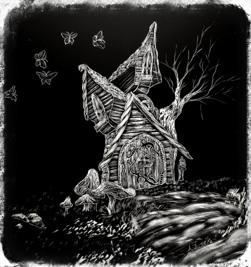 Fairy House, whimsical, Scratchboard by Imup2somethin