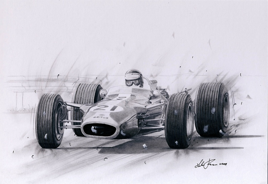 Jim Clark in Lotus 49 by klem