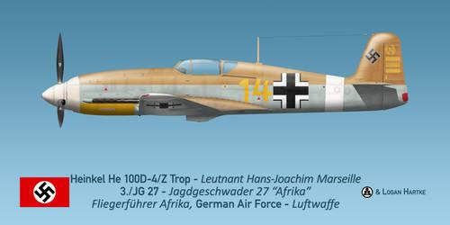 Marseille's Heinkel He 100D-4/Z Trop 'Afrika' by comradeloganov