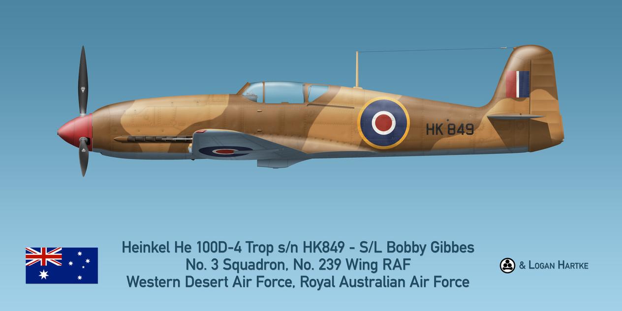 Gibbes' Australian Heinkel He 100D-4 Trop RAAF by comradeloganov