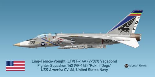 V-507 F-14A - VF-143 Pukin' Dogs - AIM-54A Phoenix