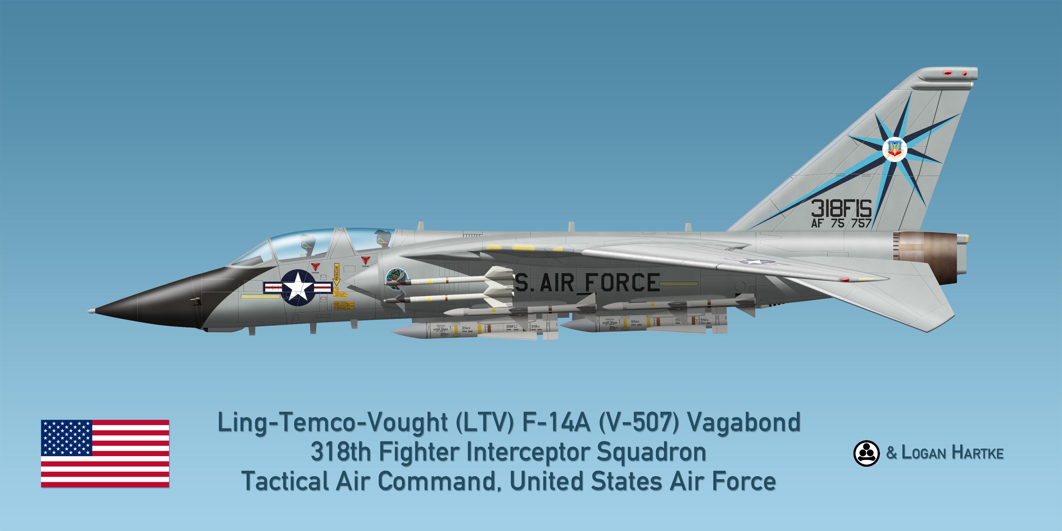 USAF V-507 F-14A - 318th FIS - Green Dragons by comradeloganov