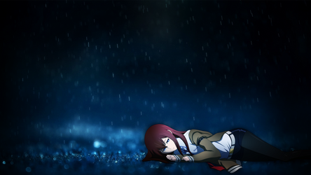 Rainy Night + Makise Kurisu Wallpaper