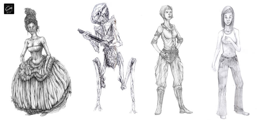 Character Design Set : Character design set sketches by thesolitaryreaper on