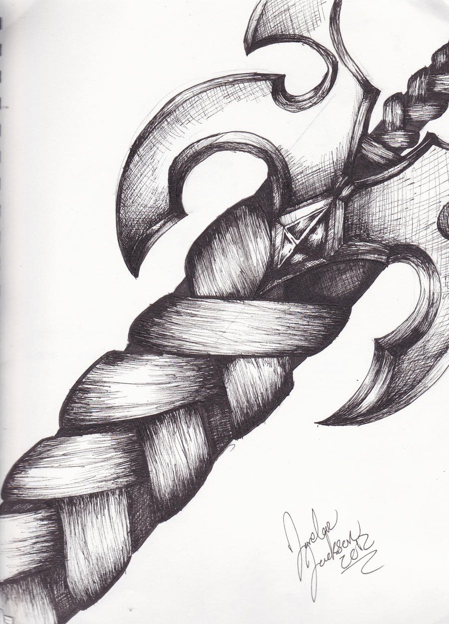 Sword drawing with pen by soviath on deviantart for Cool easy pen drawings