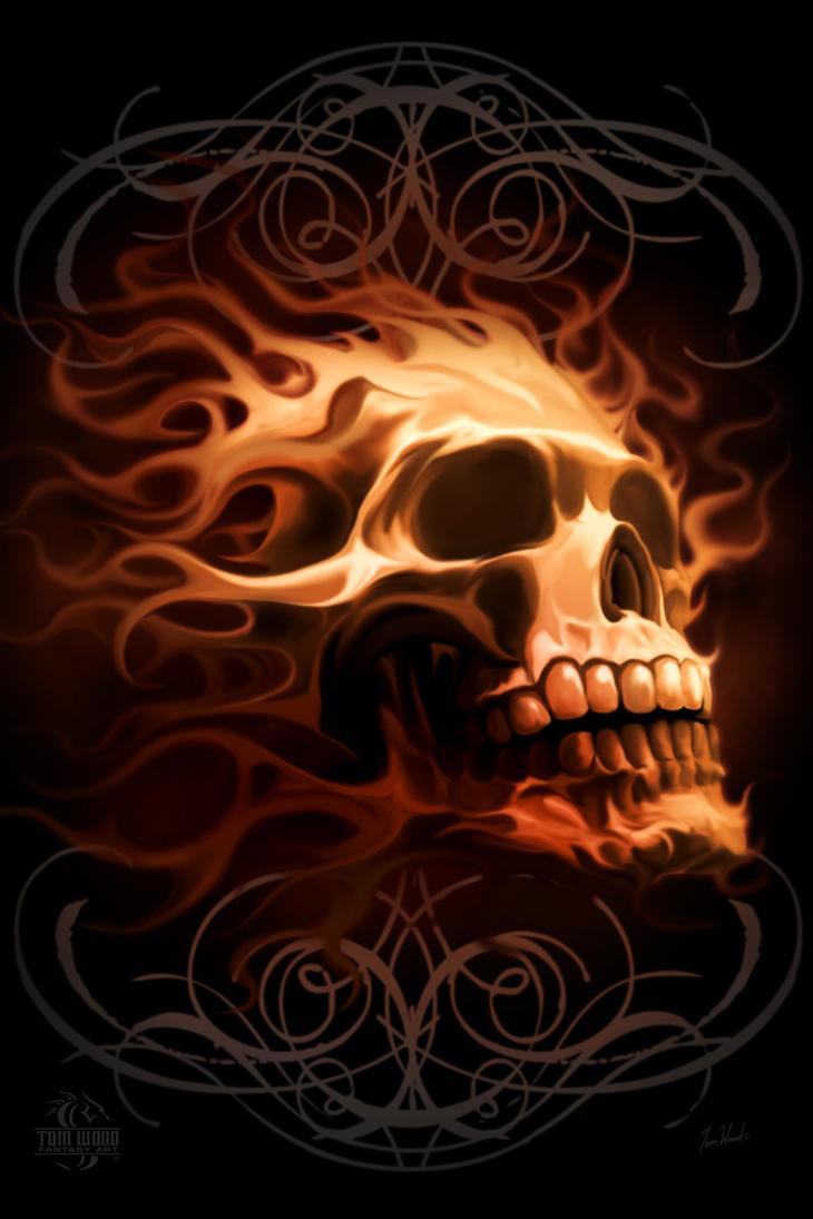 Fire skull by tomwoodfantasyart on deviantart fire skull by tomwoodfantasyart voltagebd Choice Image
