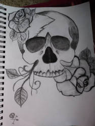 skull and rose by drawingwithmeris